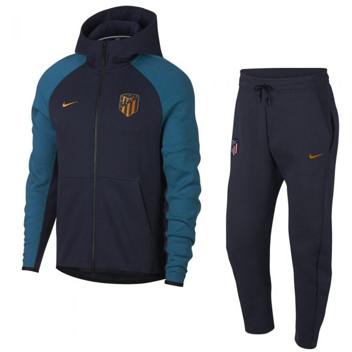 Nike Atletico Madrid Tech Fleece Trainingspak 2018-2019 Blauw Oranje